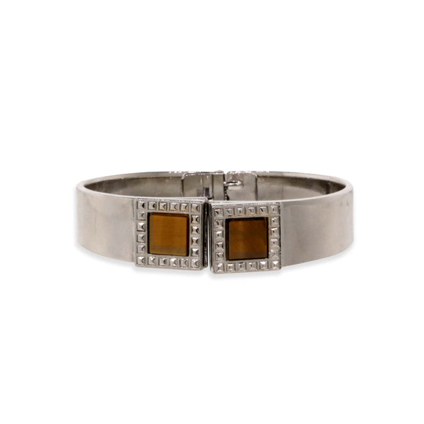 Silver Tone Tiger Eye Gemstone Square Spring Bracelet