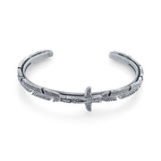 Pewter-Tone Totem Pole Feather Cuff Bracelet