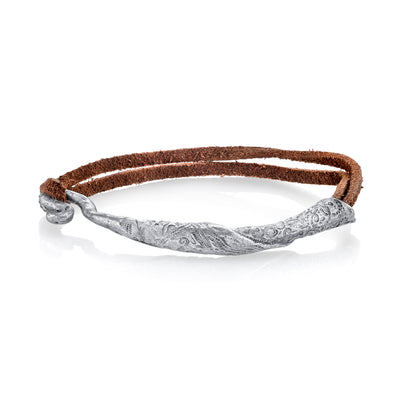 Pewter-Tone Rolled Bangle On Leather
