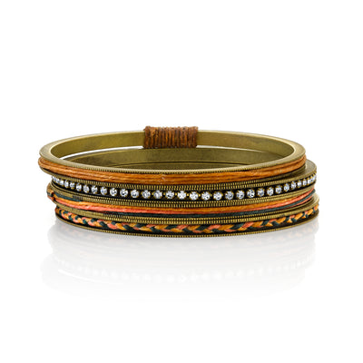 Antiqued Brass Tone Bangle Bracelets With Crystals And Braided Waxed Linen