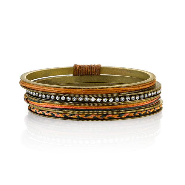 Antiqued Brass-Tone Bangle Bracelets With Crystals And Braided Waxed Linen