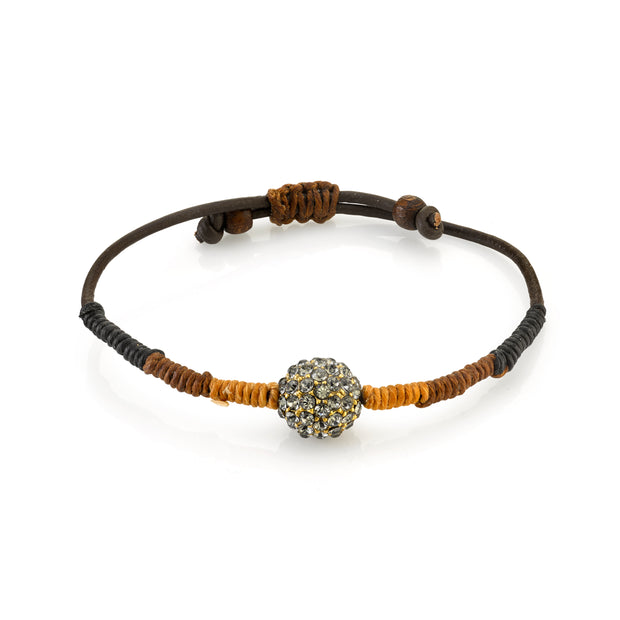 Adjustable Waxed Linen Wrapped Bracelet W/Black Diamond Color Crystal Fireball