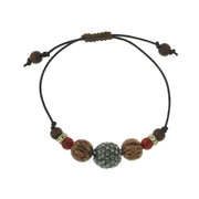 Adjustable Leather Bracelet With Black Diamond Color Fireball And Red Carnelian