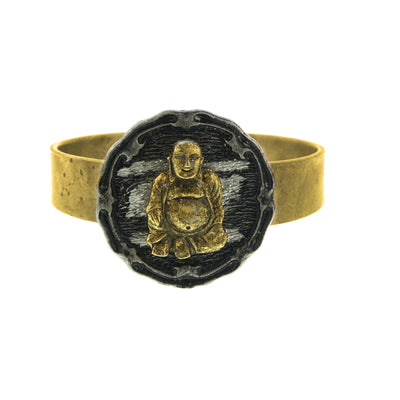 Matte 14K Gold-Dipped Hinged Bracelet With Pewter-Tone Finish  Sitting Buddha