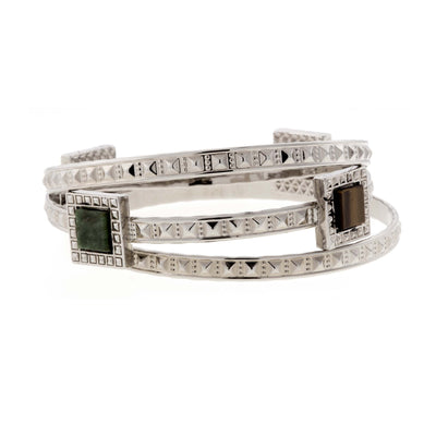 Silver Tone 3 Piece Multi Gemstone Stones Bangle Bracelet