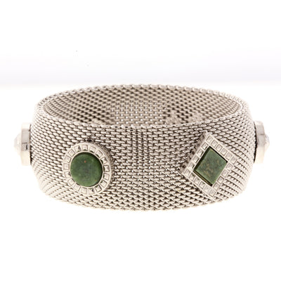 1928 Jewelry Silver Tone Mesh Round And Square Gemstone Bangle Bracelet
