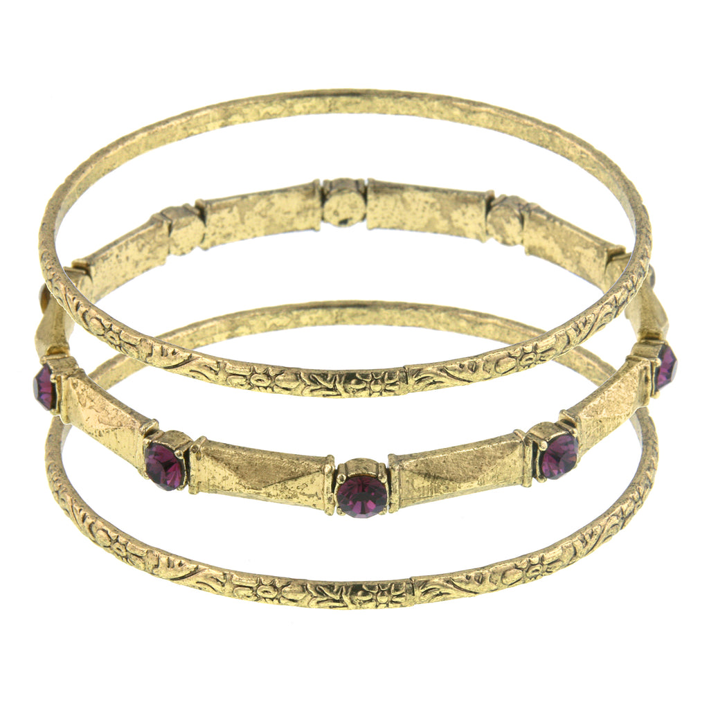 Gold Tone Amethyst Color Bangle Bracelet
