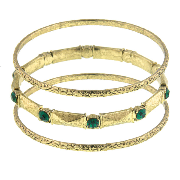 Crystal Stone 3 Piece Bangle Bracelet