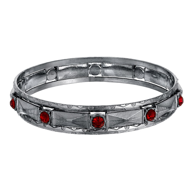 Crystal Stone 3 Piece Bangle Bracelet Red