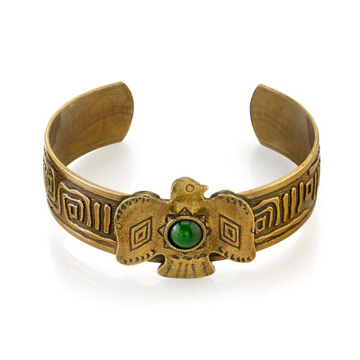 Native American Thunderbird Gemstone Green Jade Cuff Bracelet