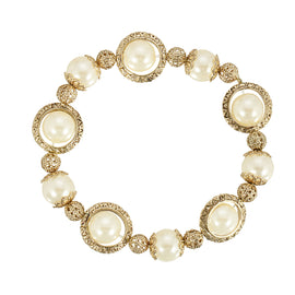Gold-Tone Simulated Pearl Filigree Ball Stretch Bracelet