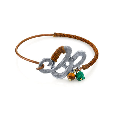 Waxed Linen Wrapped Bangle Bracelet with Gemstone Tiger s Eye and Malachite