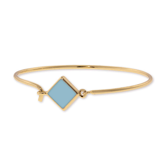 14K Gold Dipped Diamond Shape Light Blue Enamel Wire Bracelet