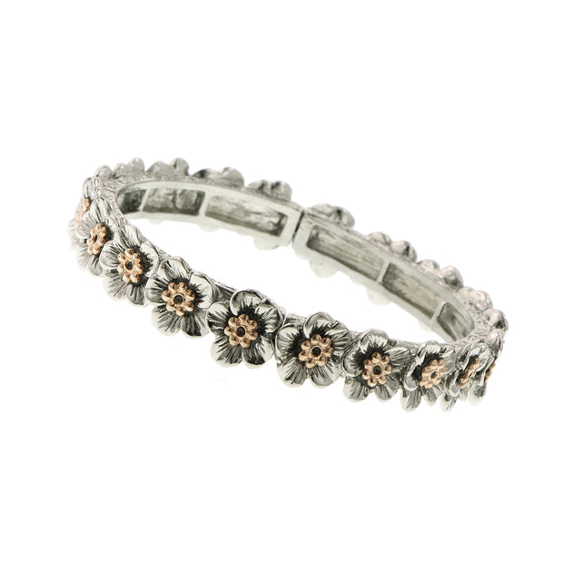 Silver Tone And Rose Gold Tone Flower Stretch Bracelet