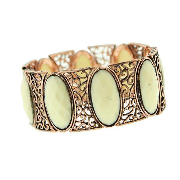 2028 Copper-Tone Ivory Oval Stretch Bracelet