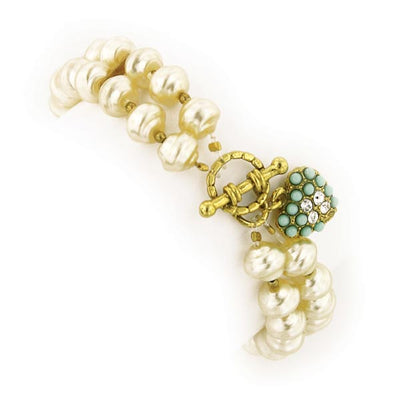 Gold-Tone Blue and Crystal Costume Pearl 2 Row Stretch Bracelet