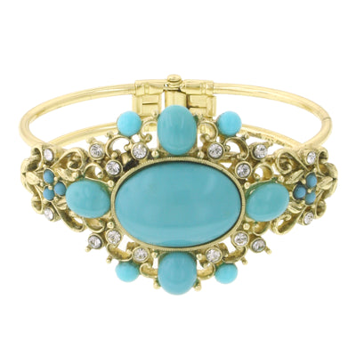 Gold Tone Turquoise Color And Crystal Cuff Bracelet
