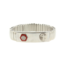 Silver-Tone Stainless Steel Large Medical Alert ID Stretch Bracelet with Cross