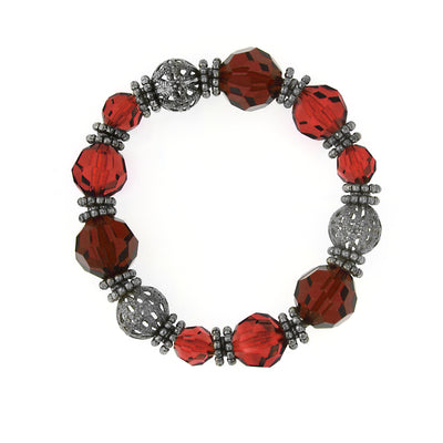 Hematite Tone And Red Bead Stretch Bracelet