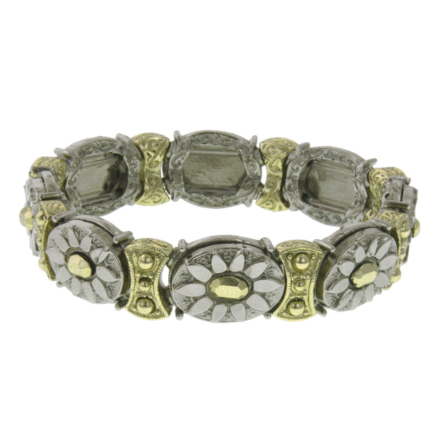 Silver Tone And Gold Tone Oval Stretch Bracelet
