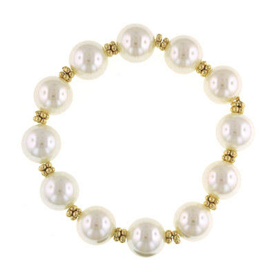 Gold Tone  Costume Pearl Stretch Bracelet