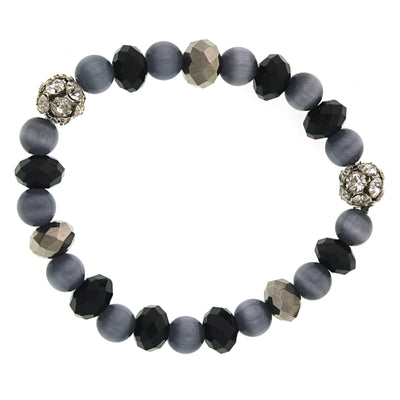 Silver Tone Light Grey Cat S Eye Stretch Bracelet