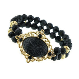 Fashion Jewelry - Evening Lily Embossed Black Beaded Bracelet