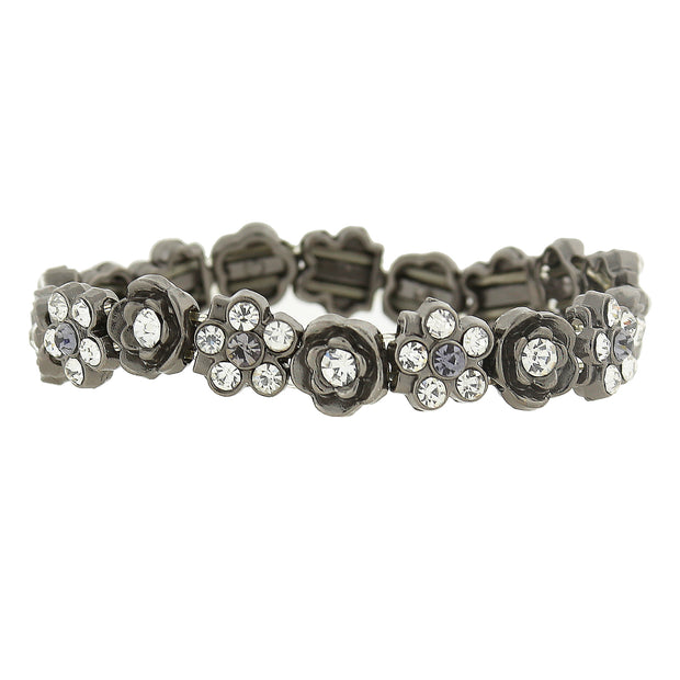 Hematite Tone Crystal And Black Diamond Color Flower Stretch Bracelet