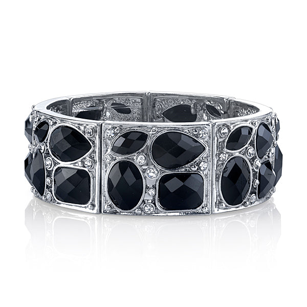 Silver-Tone Black and Crystal Stretch Bracelet