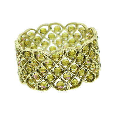 Brass Olivine AB Beaded Lattice Stretch Bracelet