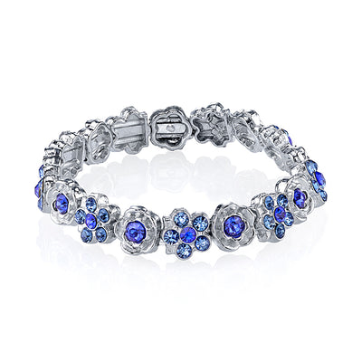 Silver Tone Blue Flower Stretch Bracelet