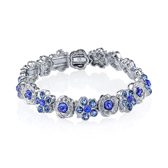 1928 Jewelry: 1928 Jewelry - Silver-Tone Blue Crystal Flower Stretch Bracelet