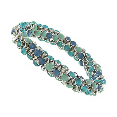 Silver Tone Blue Turquoise Stretch Bracelet