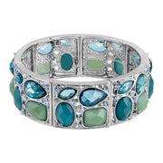 Light Blue 2028 Jewelry Silver Tone Multi Shaped Stone & Crystal Stretch Bracelet