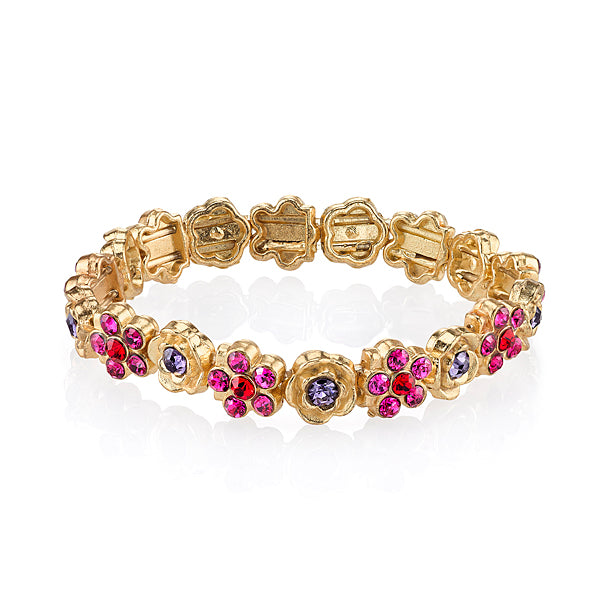 Gold-Tone Pink Purple Red Flower Stretch Bracelet