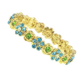 Fashion Jewelry - Gold Tone Aqua Blue and Green Crystal Flower Stretch Bracelet