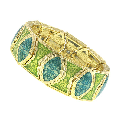 Gold Tone Turquoise And Green Stretch Bracelet