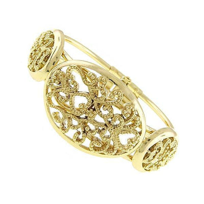 1928 Jewelry Vintage Style Gold-Tone Filigree Snap Cuff Bracelet