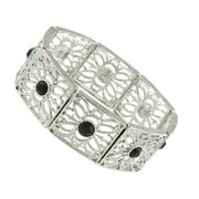 Silver Tone Black Filigree Stretch Bracelet