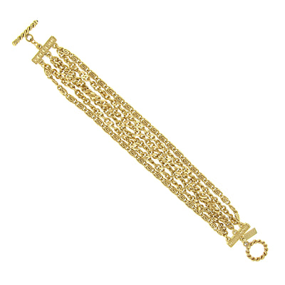 Gold Tone Chain Toggle Bracelet