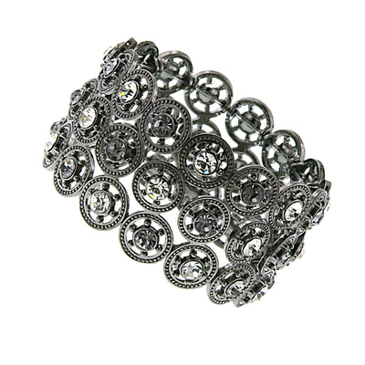 Silver Tone Crystal And Black Diamond Stretch Bracelet