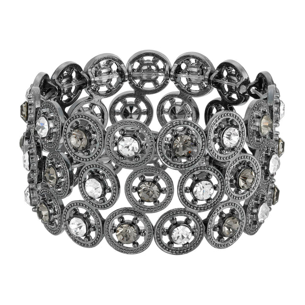 2028 Jewelry Round Spoked Crystal Stretch Bracelet 7 Inch