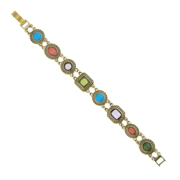 Brass Turquoise, Orange, Amethyst, And Green Bracelet