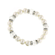 Silver-Tone Costume Pearl And Crystal Stretch Bracelet