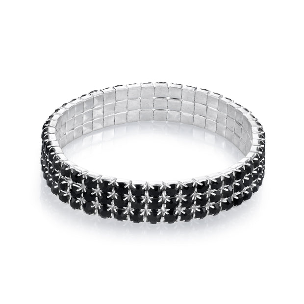 3 Row Rhinestone Stretch Bracelet