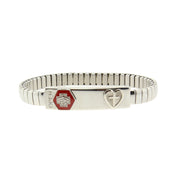 Silver Tone Stainless Steel Small Medical Alert Id Stretch Bracelet With Cross
