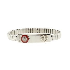 Silver-Tone Stainless Steel Small Medical Alert ID Stretch Bracelet with Cross