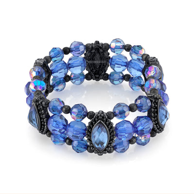Black Tone Sapphire Blue And Ab Beaded Stretch Bracelet