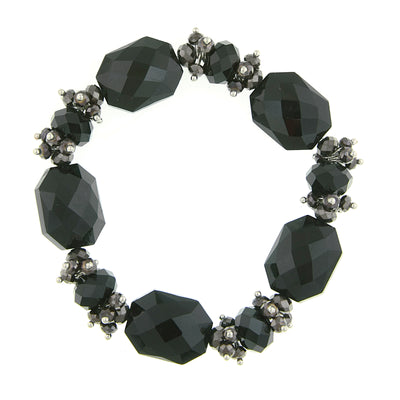 Silver Tone Black And Hematite Color Beaded Stretch Bracelet