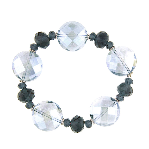 Silver Tone Montana And Lt. Grey Faceted Stretch Bracelet